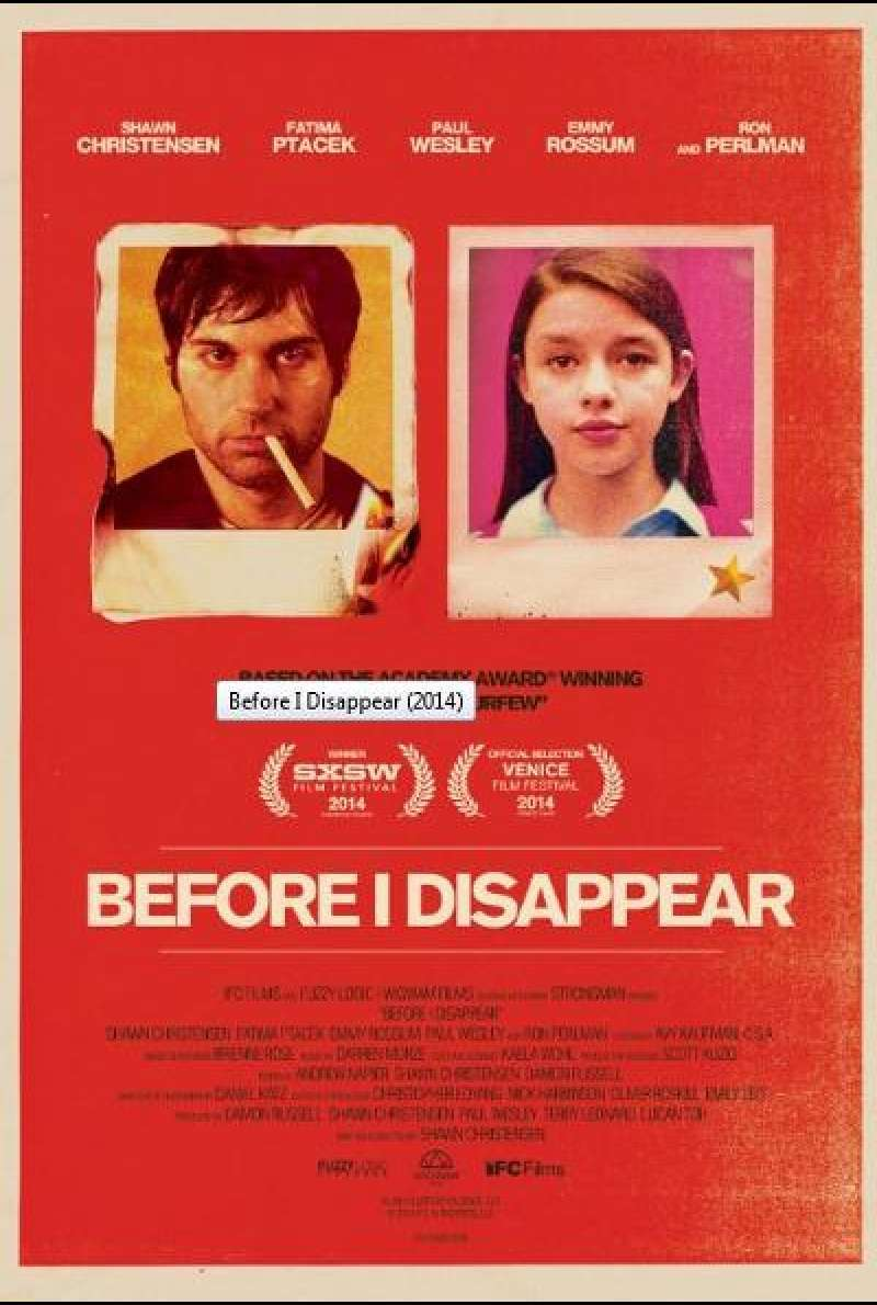 Before I Disappear von Shawn Christensen - Filmplakat (US)